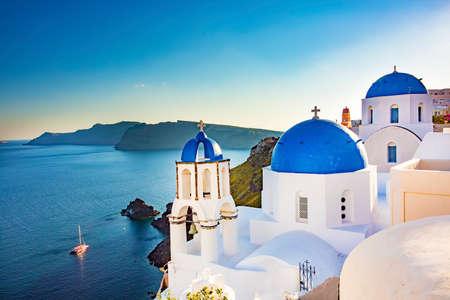 Photo for Travel holiday concept photo. Santorini island / Greece - Royalty Free Image