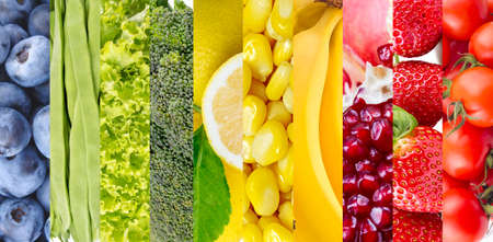 Photo for Color fruits and vegetables. Fresh food. Concept. Collage - Royalty Free Image