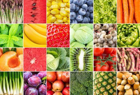 Photo for Fresh organic various vegetables and fruits collage - Royalty Free Image