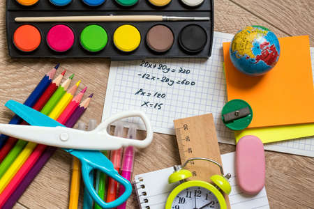 Photo for School and office equipment, stationery materials. Colorful stationery. - Royalty Free Image