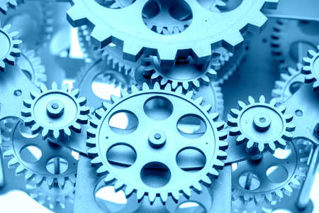 Photo pour Close view of old clock mechanism with gears and cogs. Conceptual photo for your successful business design. Copy space included. - image libre de droit
