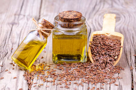 Photo for Flax seed and flax seed oil - Royalty Free Image