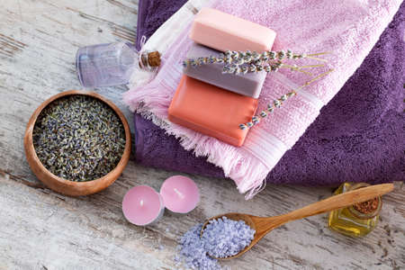 Photo for Dried lavender flowers and lavender soap - Royalty Free Image