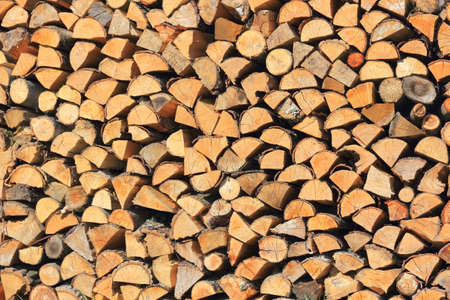 Sawn wood stacked on each other in a