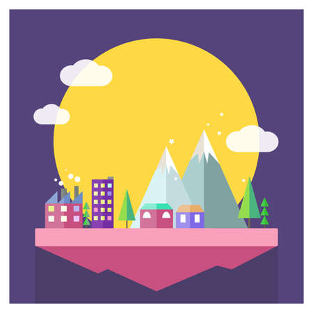 Vector flat moon city illustration. Mountain, cloud and house in minimalistic style on purple background. Magical sky islandのイラスト素材