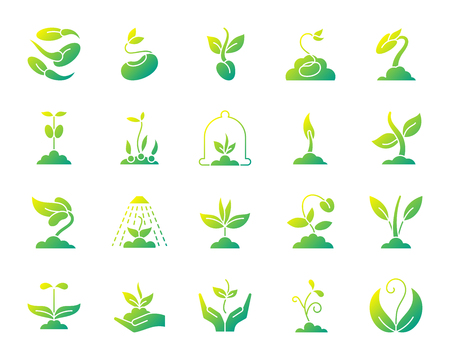 Illustration pour Sprout silhouette icons set. Isolated on white web sign kit of seeds. Plant pictogram collection includes tree, leaves, growing. Simple gradient symbol. Sprout vector icon shape - image libre de droit