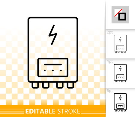 Illustration pour Electric water heater thin line icon. Outline sign of boiler. Climate equipment linear pictogram with different stroke width. Simple vector transparent symbol. Heater editable stroke icon without fill - image libre de droit