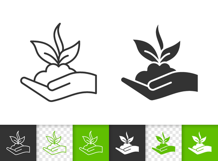 Illustration for Sprout black linear and silhouette icons. Thin line sign of bio seeds. Organic Plant outline pictogram isolated on white, color, transparent background. Vector Icon shape. Sprout simple symbol closeup - Royalty Free Image