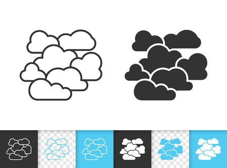 Illustration pour Overcast black linear and silhouette icons. Thin line sign of cloudy. Cloudiness outline pictogram isolated on white, color, transparent background. Vector Icon shape. Overcast simple symbol closeup - image libre de droit