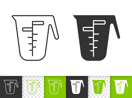Illustration for Measuring cup black linear and silhouette icons. Thin line sign of one liter. Glass outline pictogram isolated on white, transparent background. Vector Icon shape. Measuring Cup simple symbol closeup - Royalty Free Image