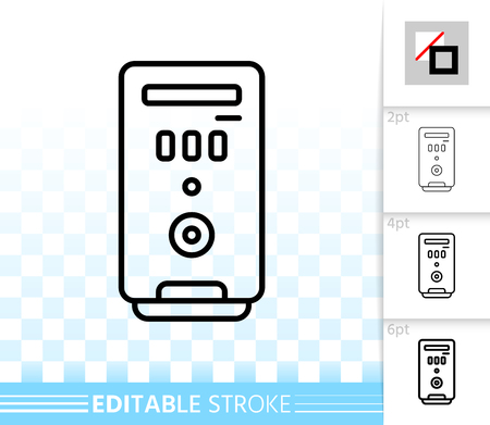 Computer case thin line icon. Outline sign of pc. Electronics linear pictogram with different stroke width. Simple vector symbol transparent background. Computer Case editable stroke icon without fill