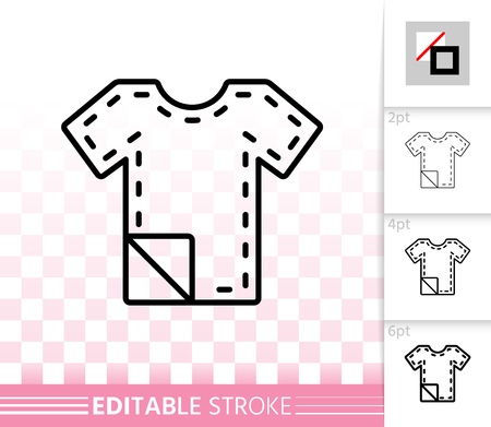 Sewing Pattern thin line icon. Outline sign of sewing. Stitch linear pictogram with different stroke width. Simple vector symbol, transparent backdrop. Sewing Pattern editable stroke icon without fill