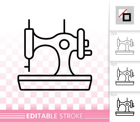 Sewing machine thin line icon. Outline sign of sew. Tailor linear pictogram with different stroke width. Simple vector symbol, transparent background. Sewing machine editable stroke icon without fill