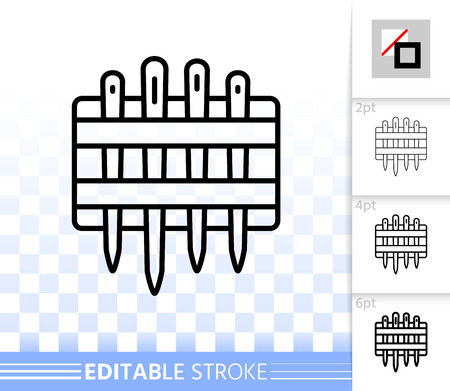 Needle Set thin line icon. Outline web sign of thread. Sewing linear pictogram with different stroke width. Simple vector symbol, transparent background. Needle Set editable stroke icon without fill