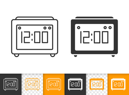 Illustration pour Clock black linear and silhouette icons. Thin line sign of watch. Timer outline pictogram isolated on white, color, transparent background. Vector Icon shape device. Alarm clock simple symbol closeup - image libre de droit