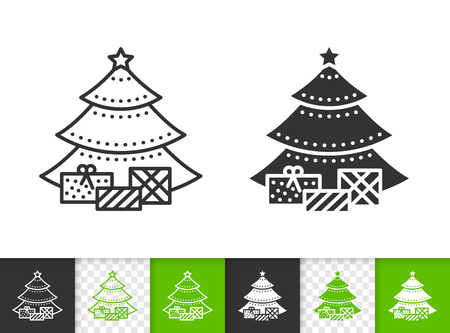 Christmas Tree black linear and silhouette icons. Thin line