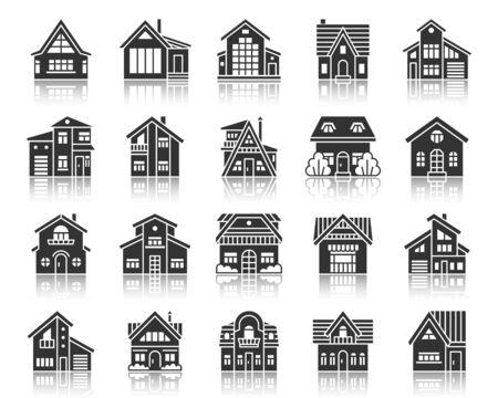 Photo pour Home silhouette icons set. Monochrome web sign kit of home exterior. Township pictogram collection includes sale, estate new build. Cottage simple vector black symbol. House shape icon with reflection - image libre de droit