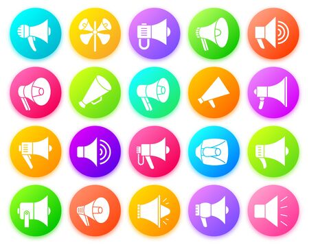 Illustration for Megaphone silhouette icon set. Isolated web sign kit of loud speaker. Bullhorn monochrome pictogram collection includes loudspeaker, voice, message. Simple white contour symbol. Round vector button - Royalty Free Image