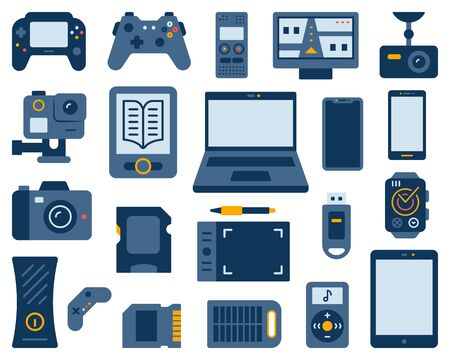 Illustration for Device simple flat cartoon style set. Gadget sign collection includes laptop, smartphone, digital recorder, solar battery. Electronics icon kit. Color symbol isolated on white. Vector Illustration - Royalty Free Image
