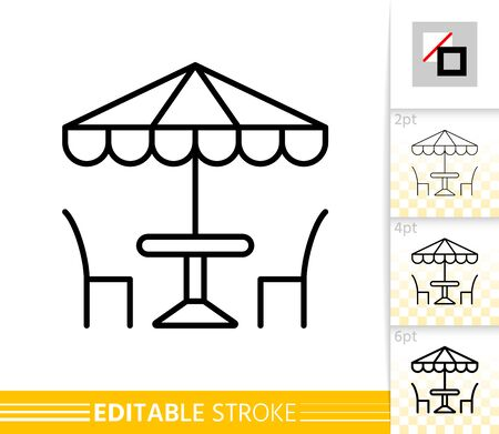 Illustration pour Street Cafe thin line icon. Umbrella banner in flat style. Summer restaurant table and chair poster. Linear pictogram. Simple Vector illustration, outline symbol. Editable stroke icons without fill - image libre de droit