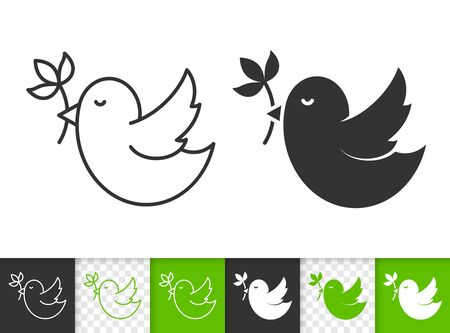 Illustration pour Bird with branch black linear and silhouette icons. Thin line sign of spring. Flower outline pictogram isolated on white, green, transparent background. Vector Icon shape. Dove simple symbol closeup - image libre de droit