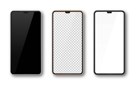 Illustration pour Realistic smartphone mockup set. Mobile phone mock up screen for your design. Modern digital device template. Cellphone display front view. Black, rose gold, white frame. Isolated vector illustration - image libre de droit