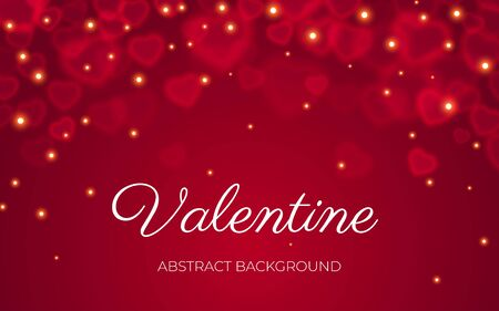Illustration for Valentine card with text, red transparent bokeh on abstract red background with light sparkle. Valentines day, love, wedding, romance banner template. Bokeh on heart shape banner, Vector illustration - Royalty Free Image