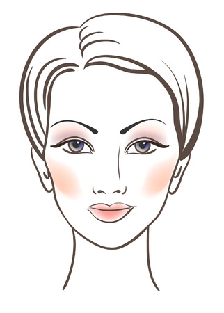 Beauty women face with makeup  illustration