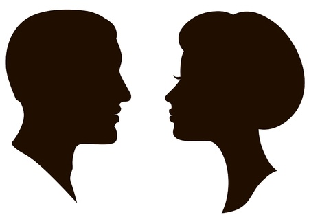 man and woman faces vector profiles