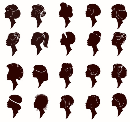Vector set of silhouette portrait of beautiful woman with Hairstyles (From my big
