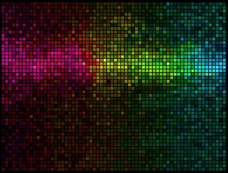 Multicolor abstract lights disco background. Square pixel mosaic vector