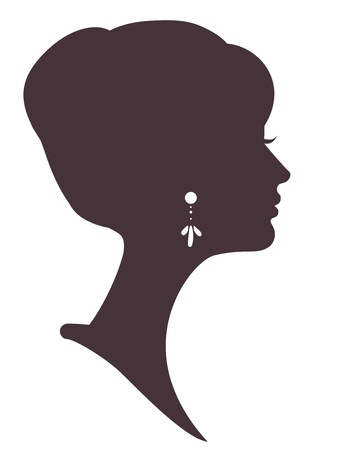 Illustration for beautiful girl  silhouette with stylish hairstyle - Royalty Free Image