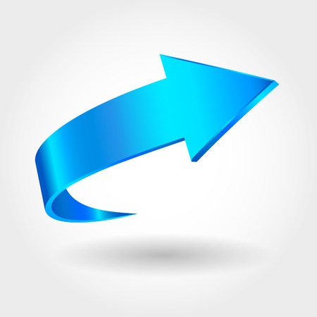 Blue arrow and white background. Symbol of motion