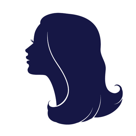 Illustration for Woman face profile. Female head silhouette. Haircut hair of medium length - Royalty Free Image
