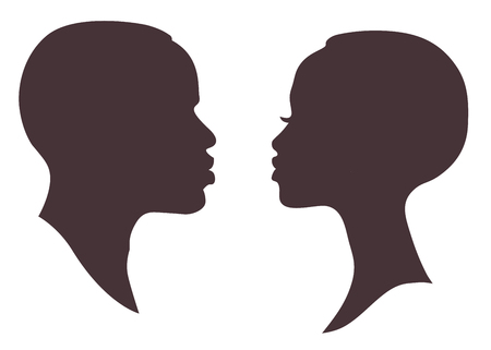 Illustration pour African woman and man face silhouette. Young attractive modern female brutal male profile sign - image libre de droit