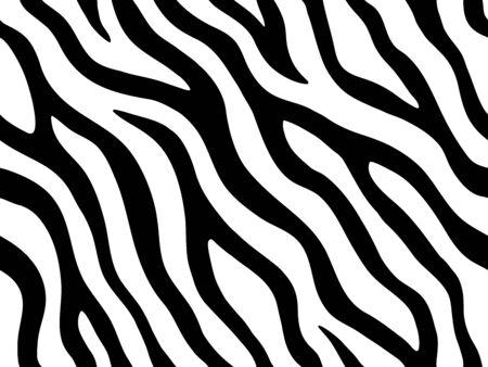 Illustration pour Zebra stripes seamless pattern. Tiger stripes skin print design. Wild animal hide artwork background. Black and white vector illustration - image libre de droit