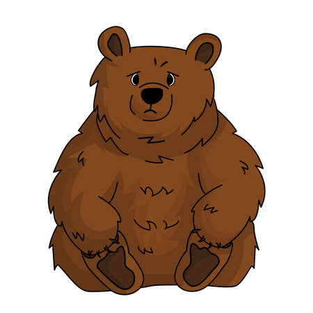 Illustration pour Hand drawn cute brown sad bear grizzly sits and holds his paws because of stress. Animal is isolated on white background - image libre de droit