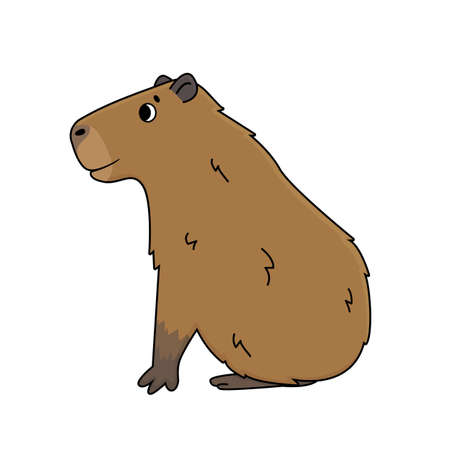 Illustration pour Vector cute cartoon outline Capybara smiles and sits on the ground. Doodle isolated illustration of animal is on white background, side view - image libre de droit
