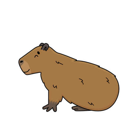 Illustration pour Vector brown cute cartoon outline Capybara smiles and lying on the ground, eyes closed, dreaming or sleeping. Doodle isolated illustration of animal is on white background, side view - image libre de droit