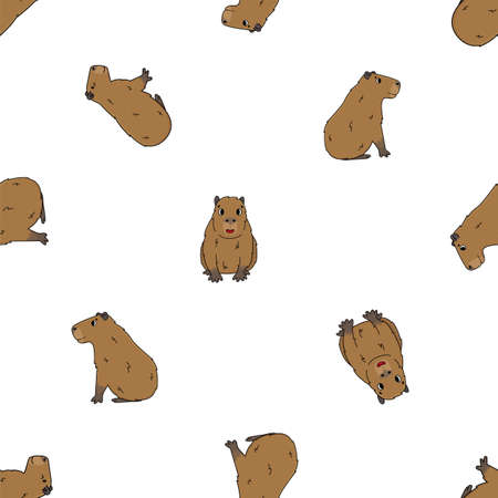 Illustration pour Seamless pattern of Vector cute cartoon outline Capybara smiles, sits, lying on the ground, dreaming, active. Doodle isolated illustration of animals on white background, side and front view - image libre de droit