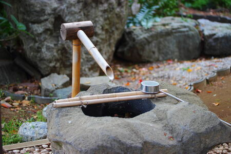 shishiodoshi is a water fountain used in japanese gardens