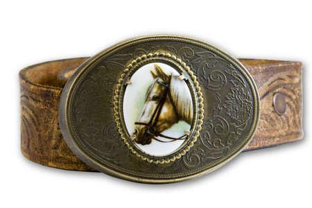 horse belt buckle on leather belt