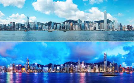 Photo pour Day and Night at Hong Kong - image libre de droit