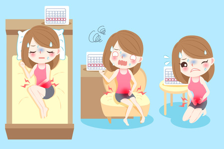 Cute cartoon woman feel uncomfortable with menstruation.