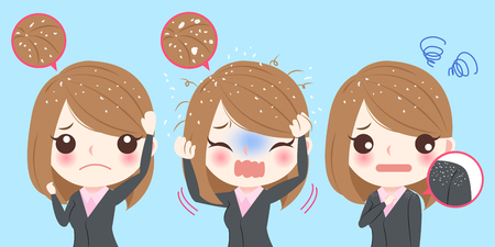 Illustration for Cute cartoon business woman with dandruff problem - Royalty Free Image