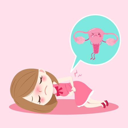 Illustration pour cartoon woman with uterus health concept on pink background - image libre de droit