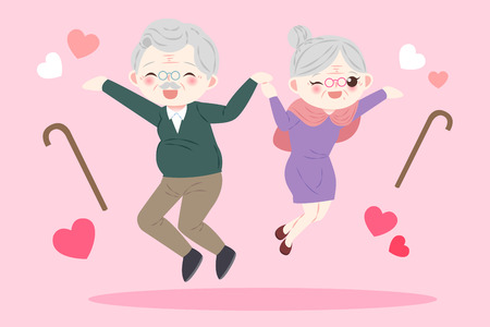 Illustration for cute cartoon old couple on the pink background - Royalty Free Image