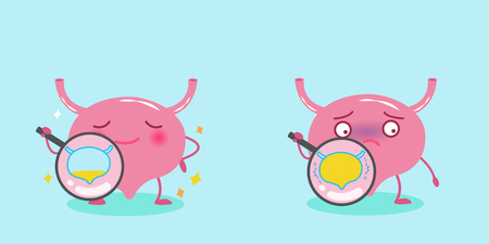 Illustration pour Cute cartoon bladder with health concept on the blue background - image libre de droit