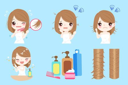 Illustration pour Woman with hair problem before and after - image libre de droit
