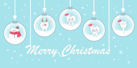Ilustración de Teeth with christmas on snowglobe on the blue background - Imagen libre de derechos